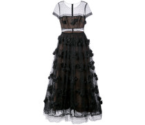 Florales Abendkleid mit semi-transparentem Einsatz - Schwarz