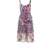 Gestuftes Kleid mit Blumen-Print - Violett