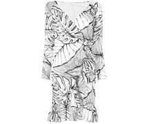 Wickelkleid mit Blattmuster - Weiß