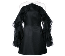 ruffle-sleeve fitted dress - Schwarz