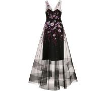 Abendkleid mit Blumen-Print - Schwarz