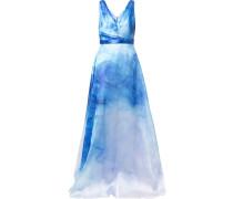 Ausgestellte Robe mit Print - Blau