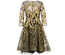 mesh overlay metallic embroidered dress - Schwarz