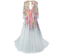 Seidenabendkleid mit floralen Applikationen - Mehrfarbig