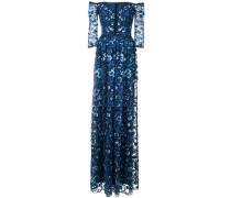 Florales Abendkleid mit schulterfreiem Design - Blau