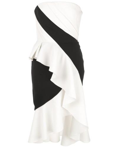 Bandeau-Kleid mit Volants - Weiß