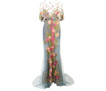 Abendkleid mit floraler Stickerei - Blau