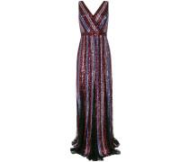 Gestreiftes Kleid mit Pailletten - Metallisch