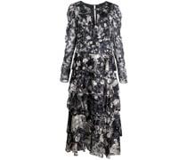 Gestuftes Kleid mit Blumen-Print - Blau