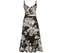 Trägerkleid mit Blumen-Print - Schwarz
