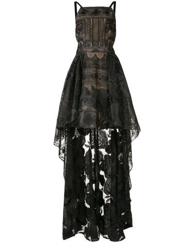 Florales Kleid mit asymmetrischem Saum - Schwarz