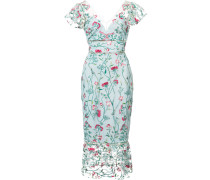 floral embroidered midi dress - Blau