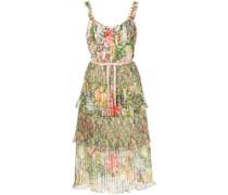 Gestuftes Kleid mit Blumen-Print - Mehrfarbig