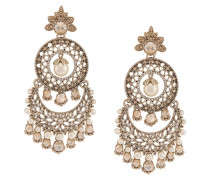 Chandelier-Ohrringe mit Perlen - Metallisch