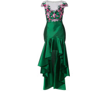 embroidered floral high low gown - Grün