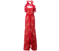 ruffled guipure lace gown - Rot