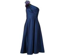 One-Shoulder-Kleid aus Satin - Blau