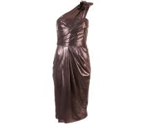 Einschultriges Kleid mit Schlitz - Metallisch