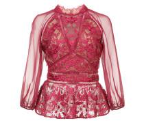 lace detail peplum blouse