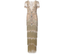 bead embroidery fringed gown