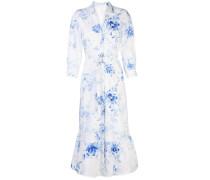 Hemdkleid mit Blumen-Print - Weiß