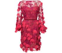 Enganliegendes Kleid mit floralen 3D-Stickereien - Rot