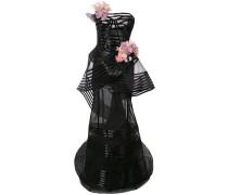 floral-embellished strapless gown - Schwarz
