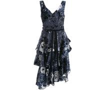 Asymmetrisches Kleid mit Blumen-Print - Blau