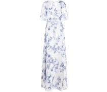 Gewickeltes Maxikleid mit Blumen-Print - Blau