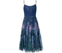 Midikleid mit Blumenstickerei - Blau