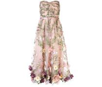 Abendkleid mit Blumenapplikationen - Nude