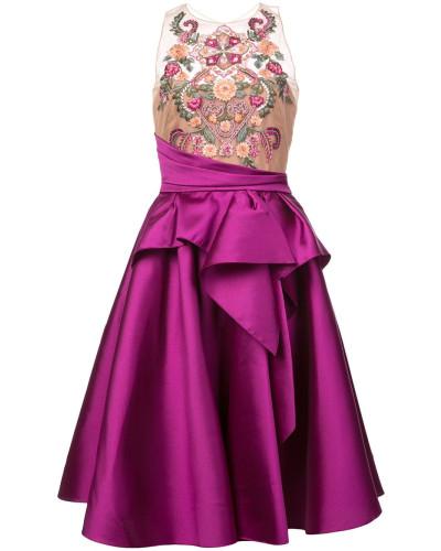 Ausgestelltes Kleid mit Stickerei - Rosa