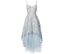 Asymmetrisches Kleid mit floralem Muster - Blau