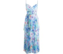 Gestuftes Kleid mit Aquarell-Print - Blau