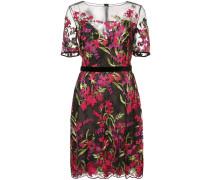 Besticktes Kleid mit semi-transparentem Design - Schwarz