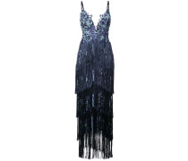 Besticktes Kleid mit Fransen - Blau
