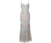 Abendkleid mit floralen Stickereien - Blau