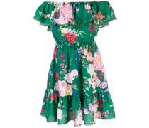 Hemdkleid mit Blumenmuster - Grün