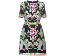 floral and leopard embroidered mini dress - Schwarz