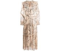 Gerüschtes Kleid mit Blatt-Print - Rosa