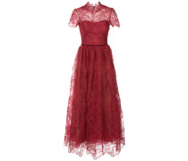 flared lace-embroidered dress - Rot