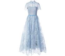 short sleeved lace dress - Blau