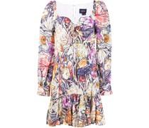 Kleid mit Blumen-Print - Violett