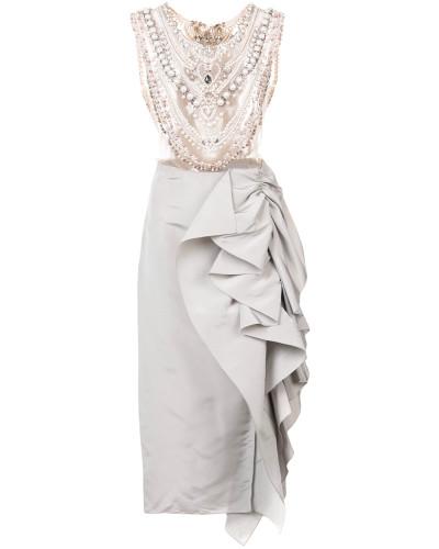 embellished chest panel asymmetric gown - Grau