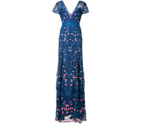 Florales Kleid mit V-Ausschnitt - Blau