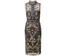 embroidered fitted dress - Metallisch