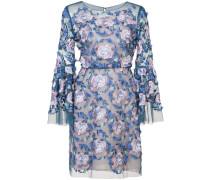 Kleid mit floralen Stickereien - Blau