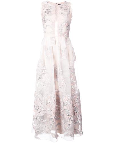 metallic floral jacquard dress - Nude