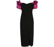 Bardot-Kleid mit Puffärmeln - Schwarz