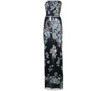 Abendkleid mit Blumenstickerei - Blau